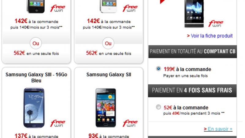 Free Mobile propose le paiement en 4 fois sans frais de ses Smartphones