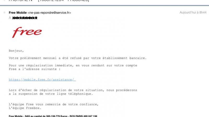 """Un nouveau phishing vise les abonnés Free Mobile… mais est signé """"l'équipe Freebox"""""""