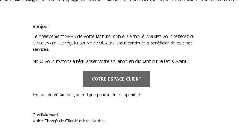 Free Mobile : nouvelle attaque Phishing, faisant état du prélèvement SEPA qui aurait échoué