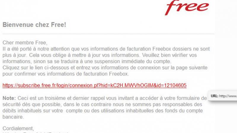 Nouvelle escroquerie de type phishing visant les abonnés Freebox