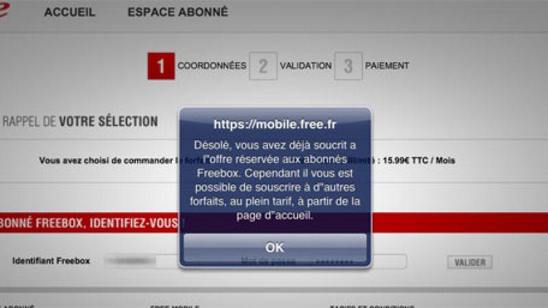 Free Mobile : Un message prévient maintenant lorsque l'on tente deux abonnements à tarif réduit