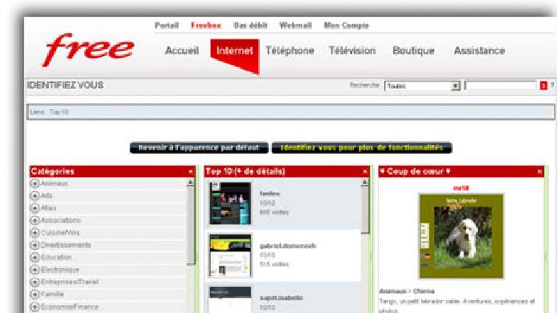 Le portail des pages perso Free relooké