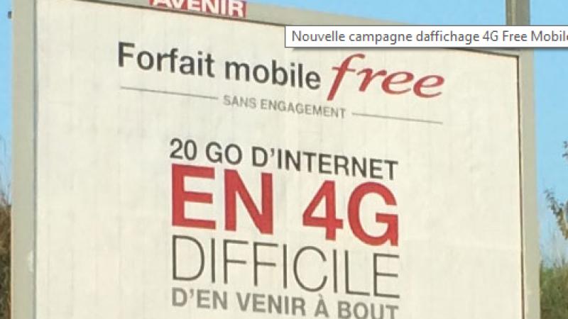 """Affiche Free Mobile : 20 Go en 4G, """"difficile d'en venir à bout"""""""