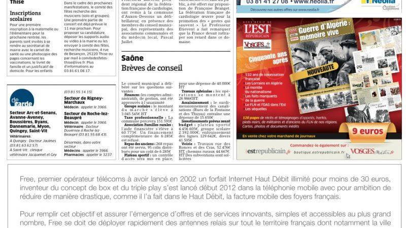 Free  Mobile informe de l'installation de nouvelles antennes par voie de presse