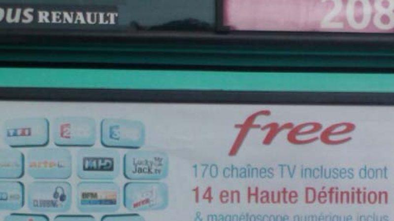 Clin d'oeil : Free fait de la pub sur ses chaînes HD à l'arrière des bus de la RATP