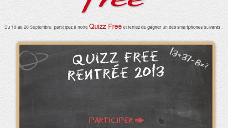 Free lance un Quizz qui permet de remporter 10 smartphones
