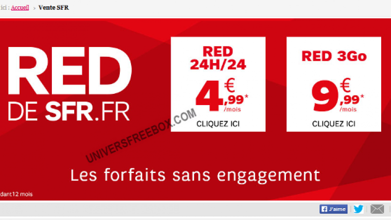 RED by SFR brade ses forfaits RED 24h24 et RED 3 Go sur Showroomprivé