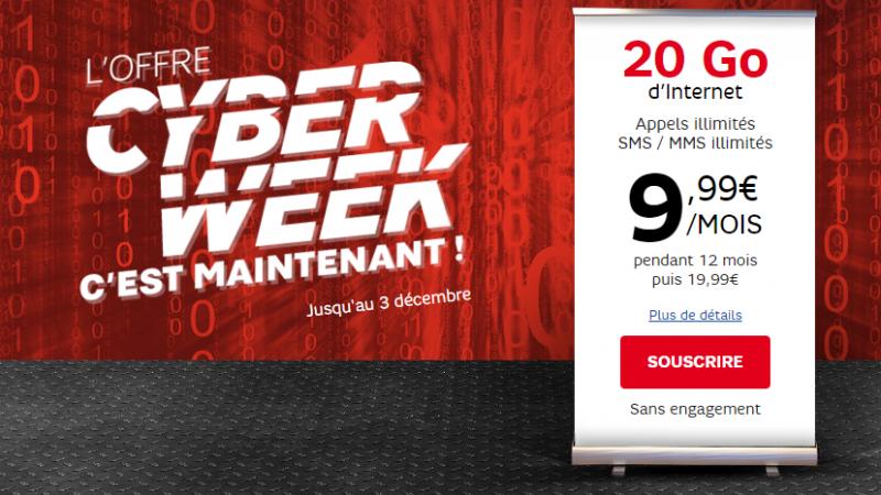 CyberWeek : RED propose un forfait illimité avec 20 Go de data pour 9.99€/mois