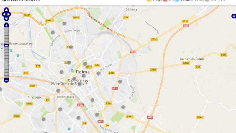 Découvrez la répartition des antennes mobiles Free 3G/4G sur Reims