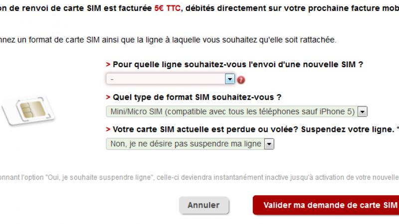 Free Mobile : changement d'interface pour le renvoi de carte SIM