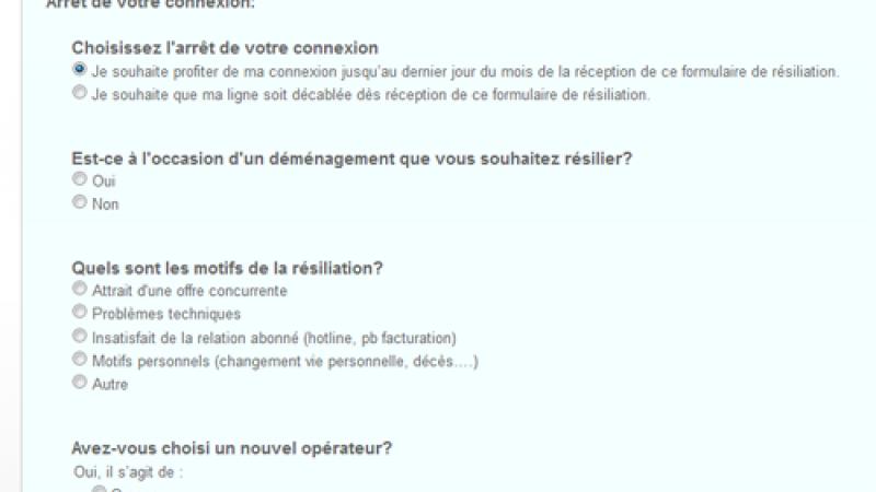 Free vient de modifier sa page de résiliation dans l'interface de gestion des abonnés