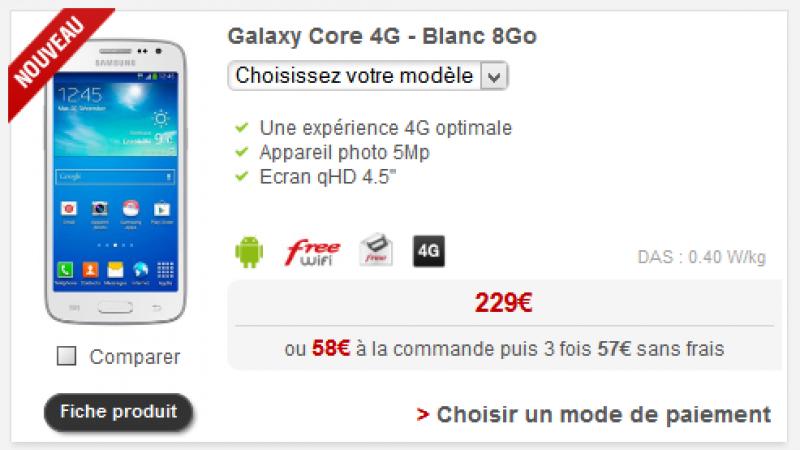 Nouveau smartphone chez Free Mobile : le Samsung Galaxy Core 4G