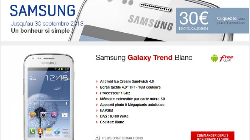 Free Mobile : 30 euros remboursés pour l'achat d'un Samsung Galaxy Trend