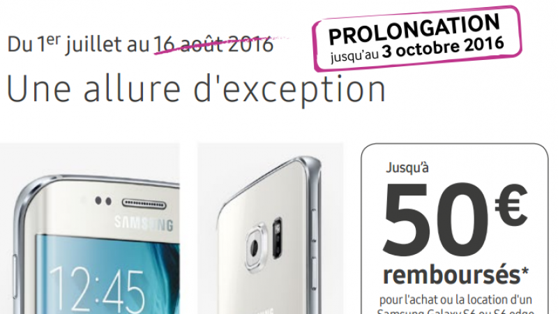 Free Mobile : la promo de 50€ sur les Galaxy S6 est prolongée de plusieurs semaines, aussi bien à la vente qu'à la location