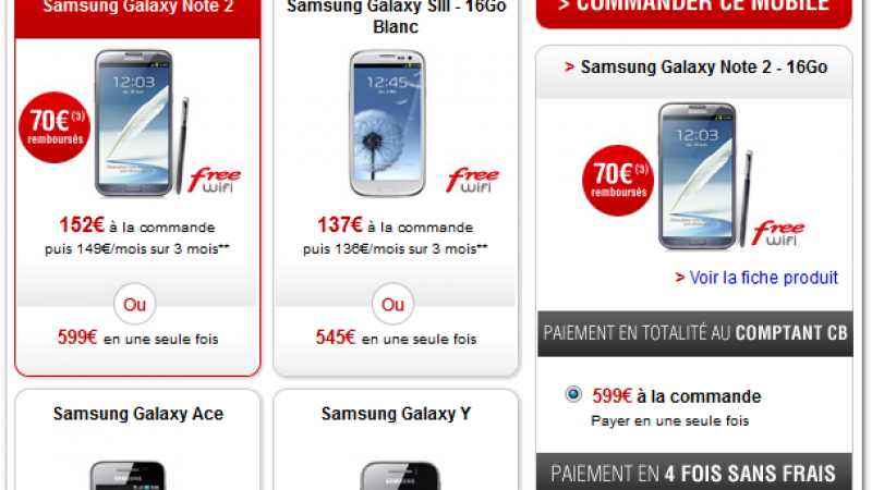 Le Galaxy Note II disponible chez Free Mobile !