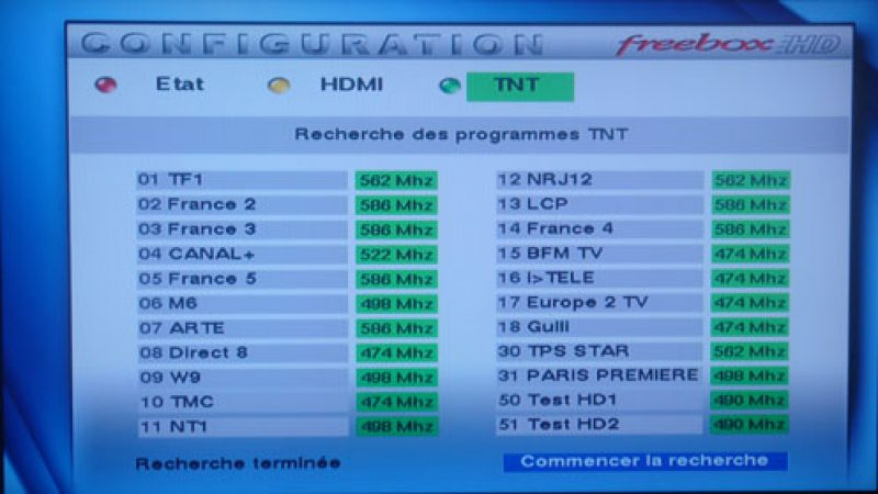 Canal Test HD2 ouvert