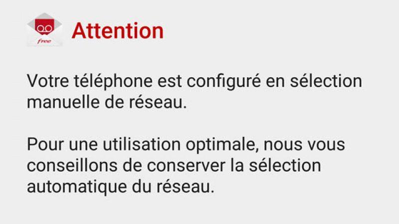 Sélection manuelle ou automatique du réseau ? La MVV de Free Mobile vous conseille.