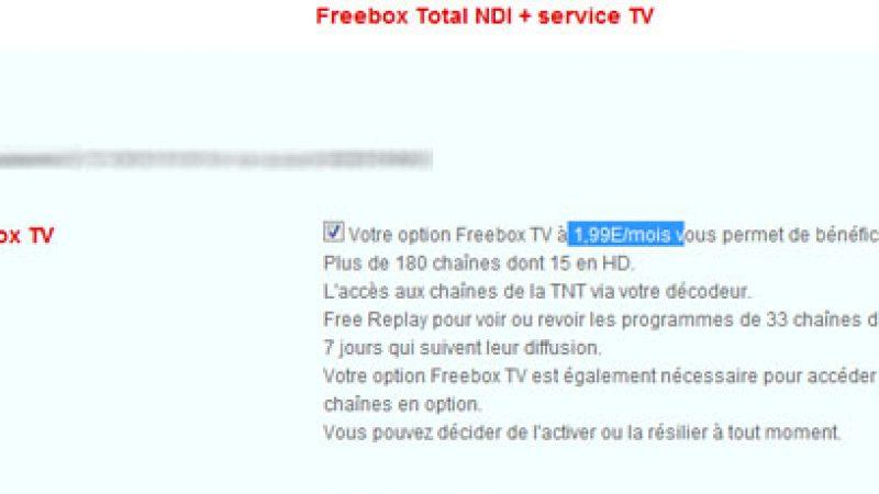 Free : Option TV activable dès l'inscription