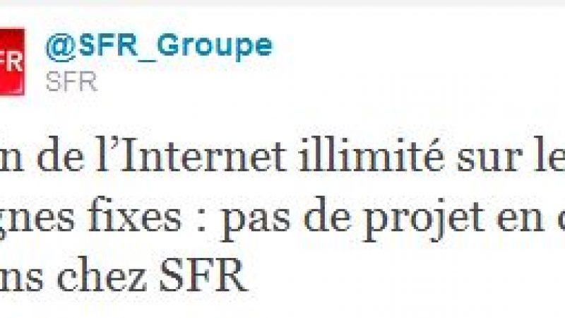 """Fin de l'Internet illimité : """"pas de projet en ce sens pour SFR """""""