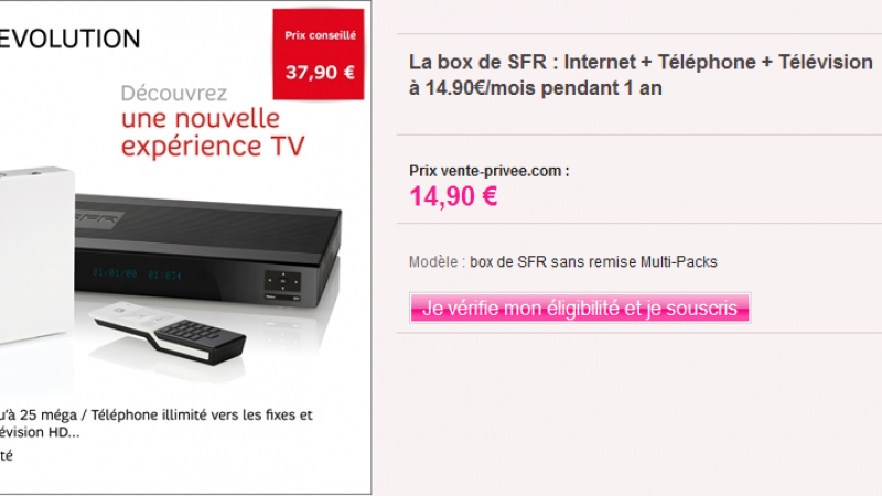 Match SFR Vs Free sur Vente Privé : la Neufbox à 14,90€ euros/ mois