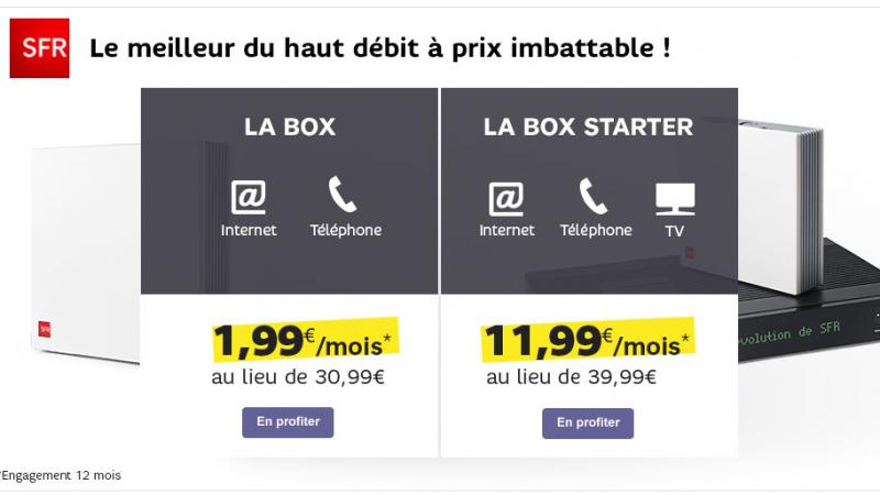 SFR copie Free et propose également sa Box ADSL à 1.99 euro/mois pendant 1 an