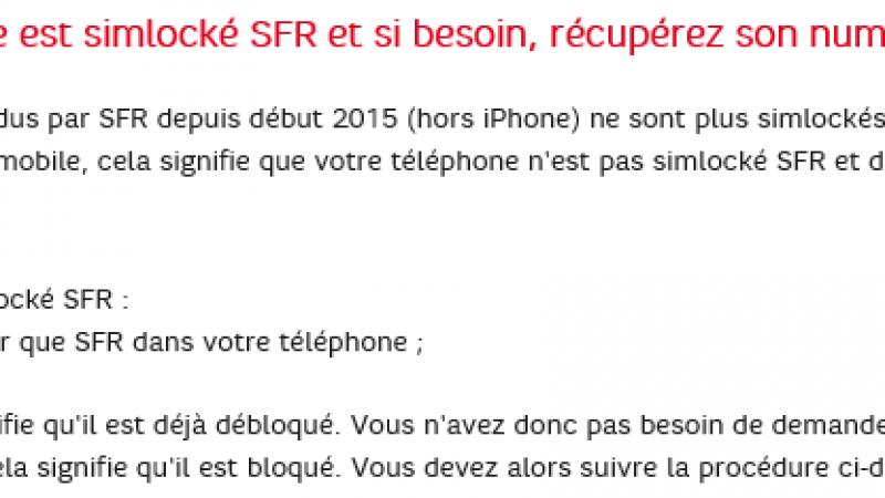Les mobiles vendus par SFR ne sont plus simlockés, hors iPhone.
