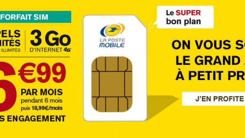 La Poste Mobile : De l'illimité et 3Go de Data pour 6.99 euros par mois