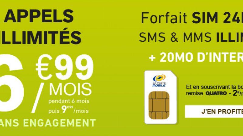 La Poste Mobile : de l'illimité et 20Mo de Data pour 6.99 euros par mois