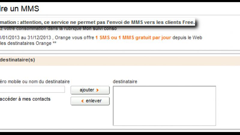Le portail Orange « ne permet pas l'envoi de MMS vers l'opérateur Free »