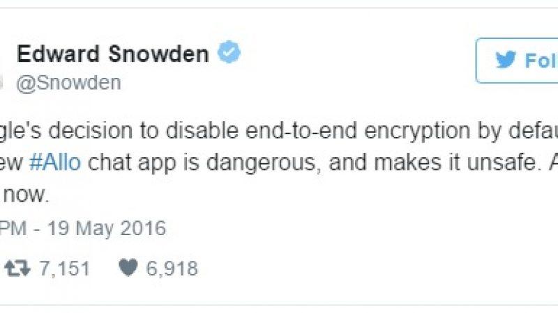 Edward Snowden déconseille Allo