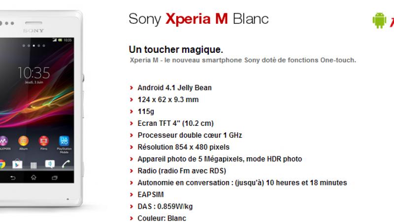 Free Mobile : le Sony Xperia M-Blanc 4 Go fait son apparition
