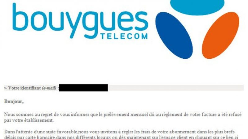 Bouygues Télécom alerte ses abonnés suite à un mail frauduleux utilisant son nom