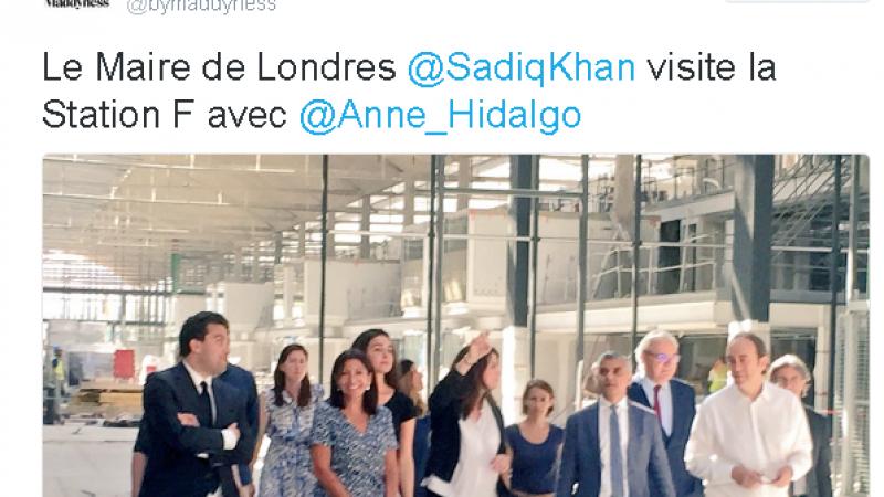 Xavier Niel fait visiter Station F au maire de Londres