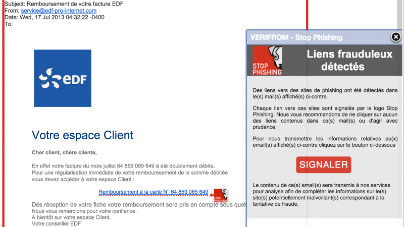 Stop Phishing, une extension pratique et compatible avec le webmail Free