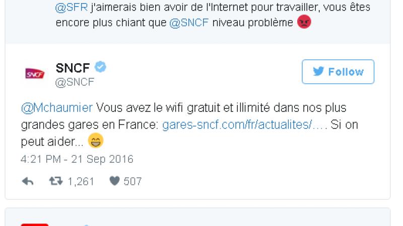Clin d'œil : Quand le community manager de la SNCF tacle SFR sur la 4G