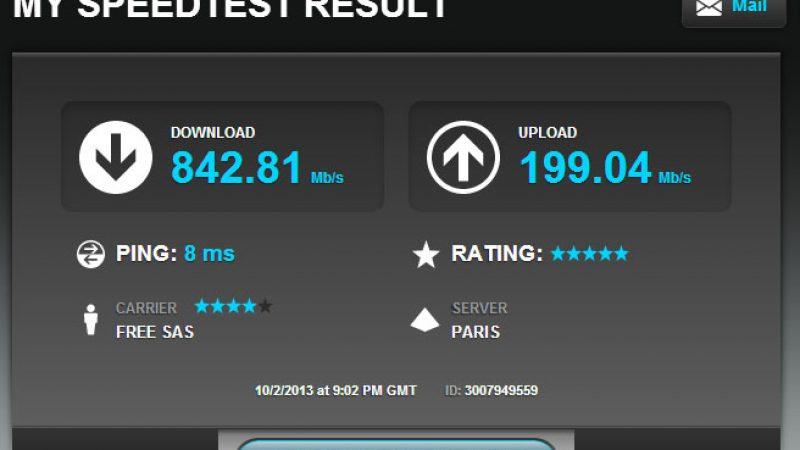 Tests de débits de l'offre fibre de Free : des Freenautes s'approchent des 1 Gbit/s