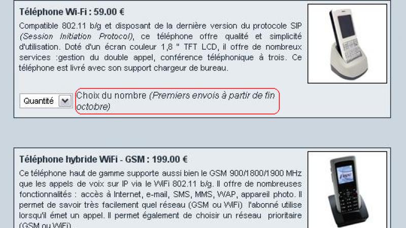 [MAJ] Les téléphones WIFI et GSM/WIFI de Free sont disponibles