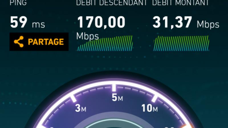 Premier test de débit de la 4G+ de Bouygues Télécom à Paris : 170 Mbits/s !