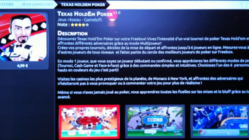 Texas Hold'em Poker est disponible sur le Freestore de la Freebox Révolution