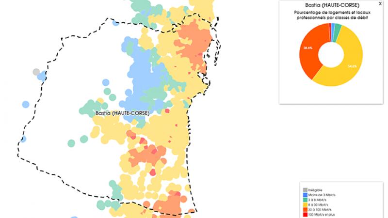 Découvrez les cartes du déploiement très haut débit à Bastia