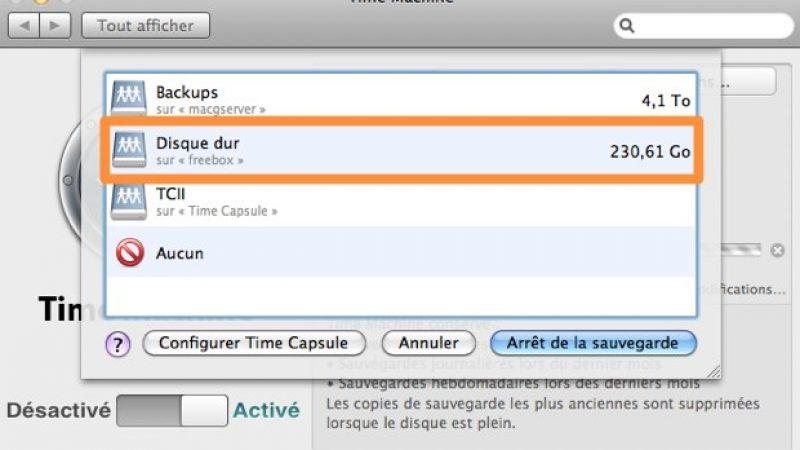 Freebox Révolution : Time Machine simplifié