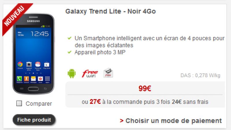 Le Samsung Galaxy Trend Lite débarque dans la boutique en ligne de Free Mobile