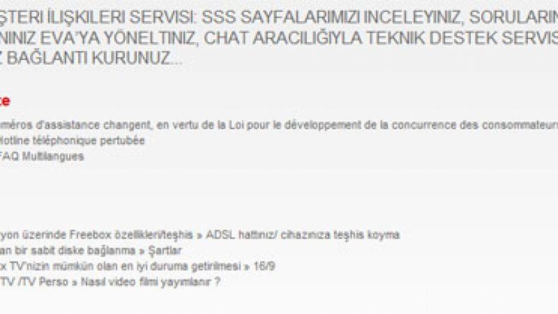 L'assitance web de Free à l'heure turque