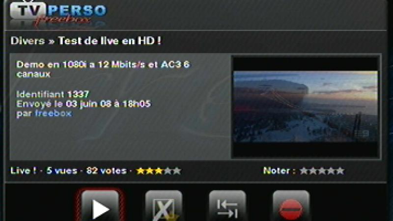 """TV Perso Freebox : Free teste le """"Live"""" en Haute Définition (vidéo)"""