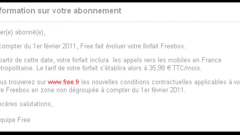 Hausse du forfait Freebox : Free informe les non dégroupés