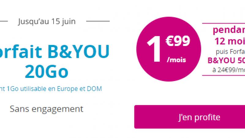 Nouvelle réplique de Bouygues Telecom à Free Mobile avec son forfait B&YOU 20 Go à 1,99€/mois pendant un an