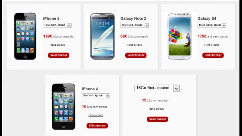 Free sur Vente-privee : Tous les mobiles sont « en rupture de stock »