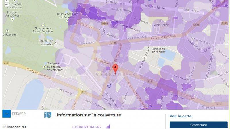 Couverture et débit 4G Free Mobile : Versailles