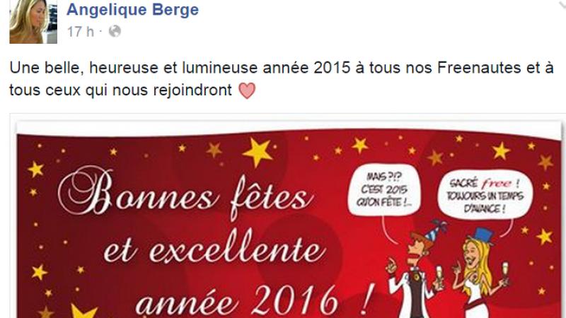 Free, Free Mobile et Angelique Berge vous souhaitent une bonne année 2015