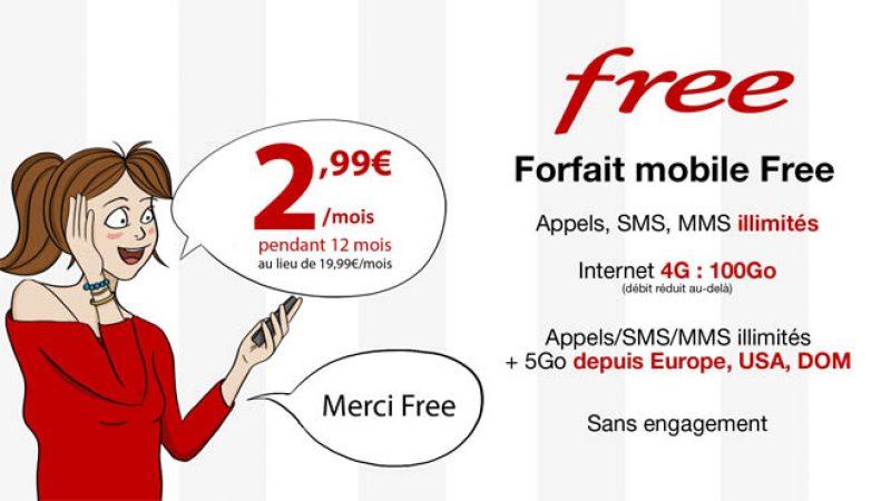 """Forfait Free Mobile """"100Go + roaming illimité"""" à 2,99€ : prolongation de l'offre promotionnelle"""